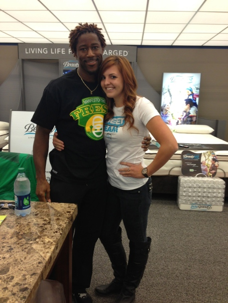 Nate Burleson and I at Gardner White Grand Opening